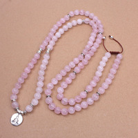 Pink Natural Stone With Ancient Silver OM Lotus Buddha Charm Pendant Necklace For Women Dropshipping