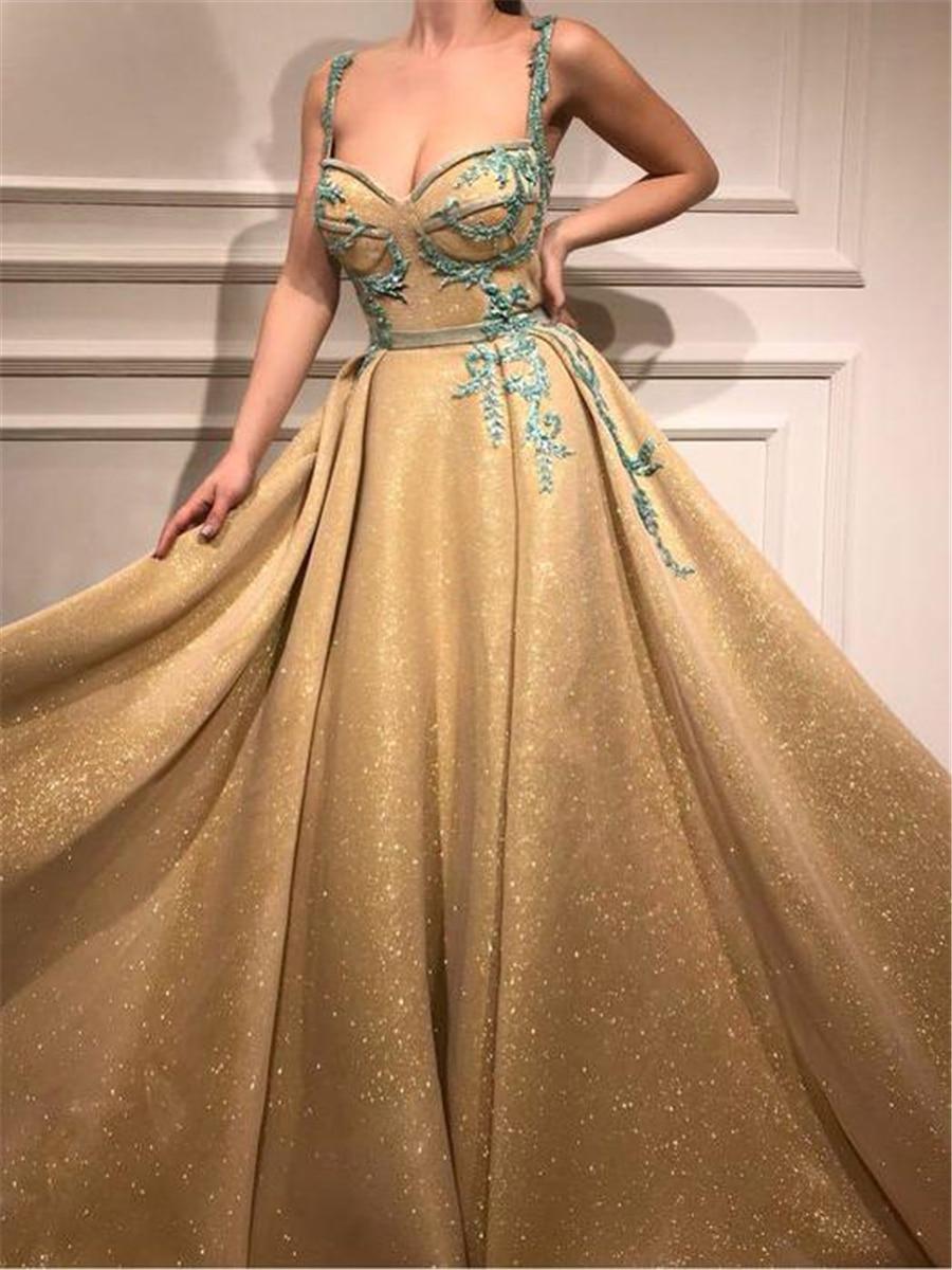 Beautiful Spaghetti Straps Gold   Prom     Dress   A-line Straps Long   Prom     Dresses   Rhinestone Sparkly Evening   Dress