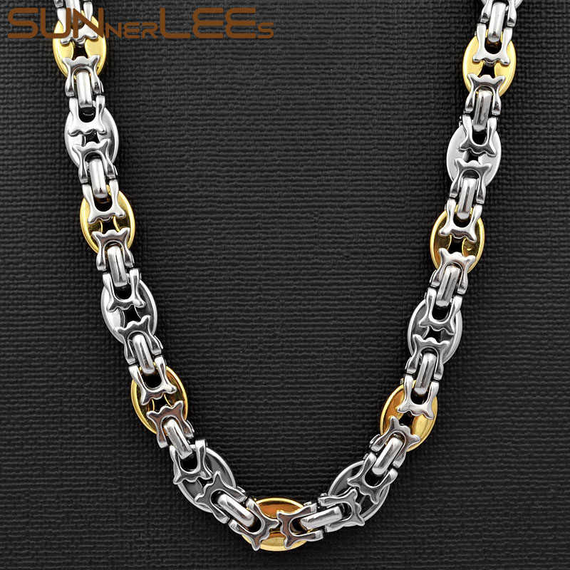 SUNNERLEES 316L Stainless Steel Necklace 10mm Geometric Byzantine Link Chain Silver Gold Men Women Fashion Jewelry Gift SC72 N