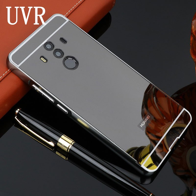 UVR For Huawei Mate 10 Pro Case 6.0 Plating Mirror Aluminum Metal Frame Bumper Hard Plastic PC Back Cover For Huawei Mate10Pro