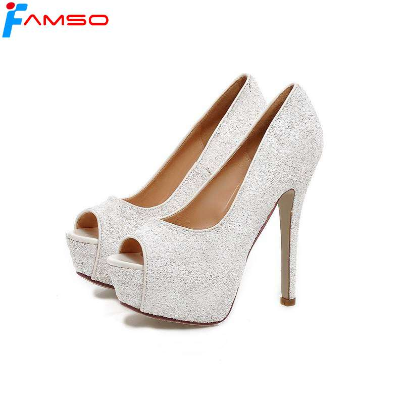 FAMSO Size34-43 2018 Sexy lady Summer Wedding Shoes Peep toe  Women's Sandals gold Silver glitter High Heels Pumps PS719 zorssar brand 2017 high quality sexy summer womens sandals peep toe high heels ladies wedding party shoes plus size 34 43