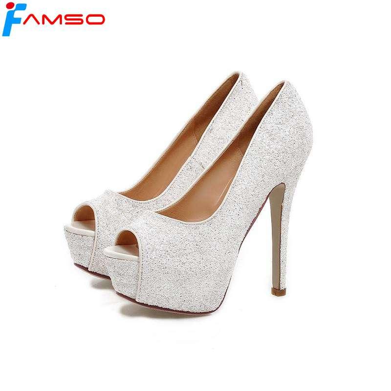 c2fa1e9fb10e2 Dame Pompes Paillettes De Talons Black Or 43 Sexy Peep 2019 Mariage  Chaussures Ps719 Toe Size34 Hauts Femmes Argent Famso Sandales silver ...