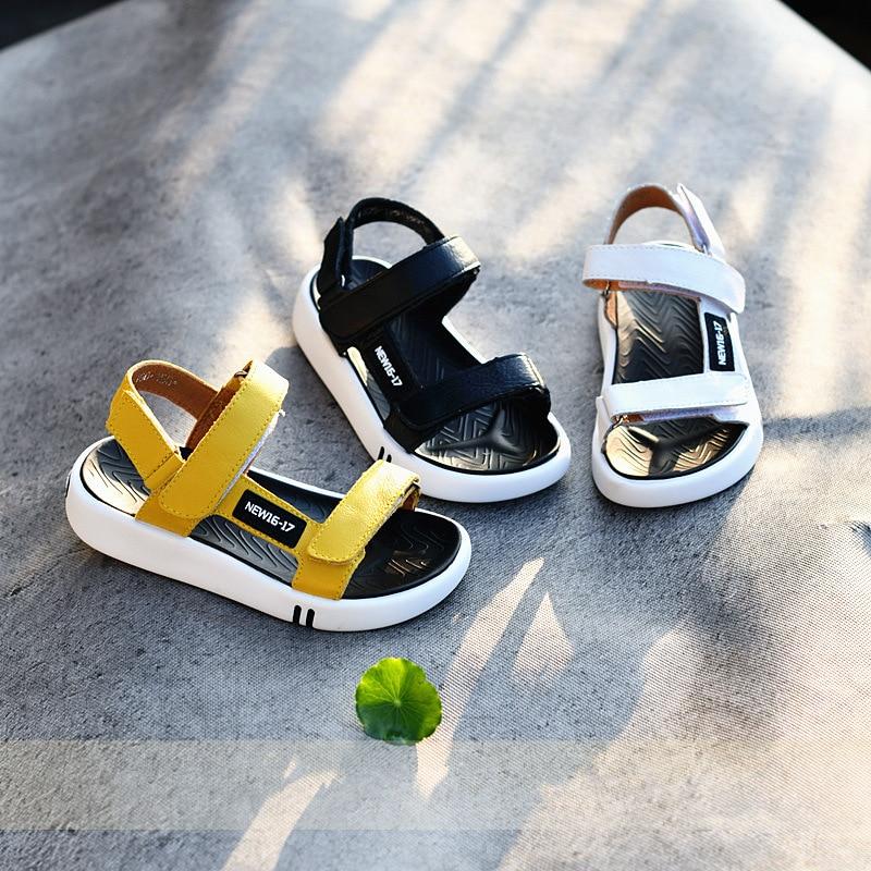 Genuine Leather Boys Sandals Soft Bottom Children's Beach Shoes Non-slip Kids Sandals