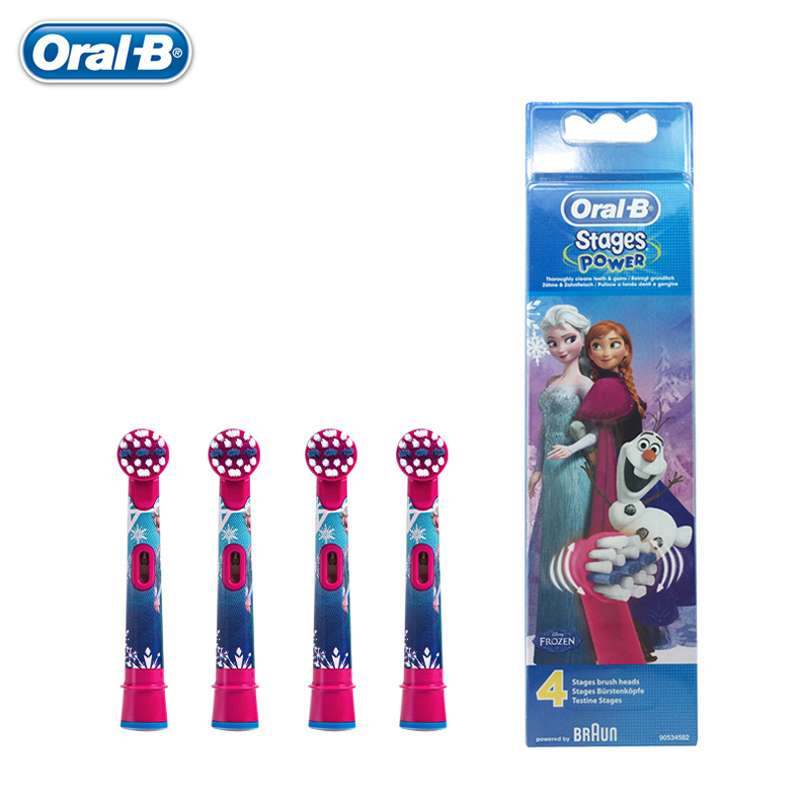 Frozen Replacement Kids Children Tooth Brush Heads For Oral B EB10-4 Electric Toothbrush Oral Care Brush Head 4 pcs image