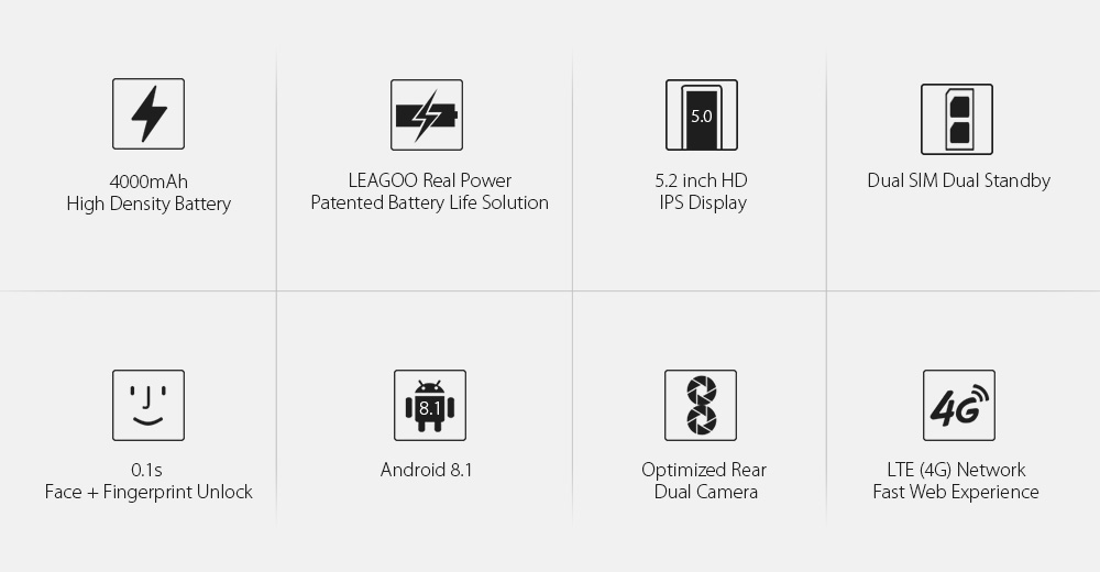 LEAGOO POWER 2 PRO 4000mAh Face ID Fingerprint Smartphone 2GB+16GB Dual Camera Android 8.1 Quad Core 5.2' HD 4G Mobile Phone (2)