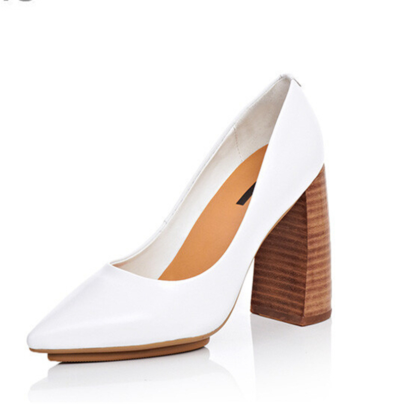 ФОТО White pointed toe high-heeled shoes thick heel genuine leather women's shoes wedding shoes black work shoes female brief