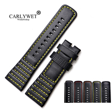 CARLYWET 28mm Wholesale Genuine Leather With Black White Orange Red Yellow Stitches Wrist Watchband Strap Loops For SevenFriday