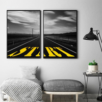 HAOCHU Modern Mountain Road County Highway Wall Picture Black White Canvas Painting Living Room Home Decor