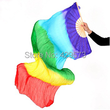 New Arrival nice mixed Rainbow colors 100% real silk long Fan Veils for Belly Dancing or Stage Show