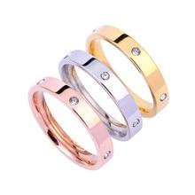 3 шт., кольца из нержавеющей стали для женщин, классическое кольцо с кристаллами, мужские обручальные кольца, женские обручальные кольца
