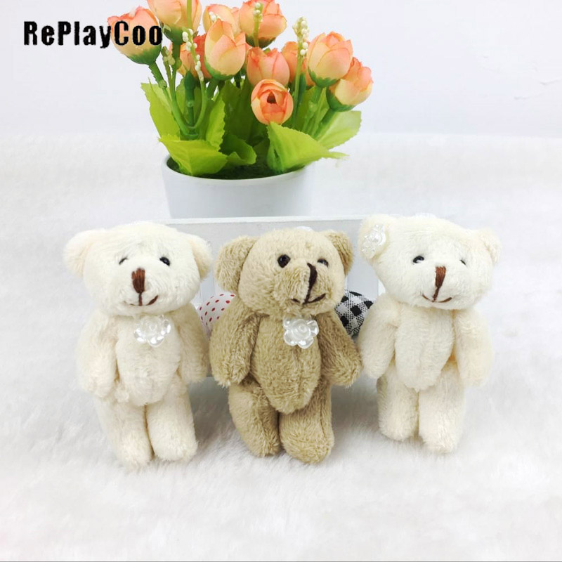 3PCS Super Kawaii 8CM Joint Bowtie Teddy Bear Plush TOY