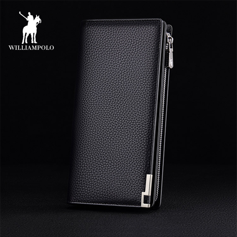 Soft Pure Genuine Leather Zipper Wallets Business Men Italy Cow Leather Long Coin Purs Wallet Man Brand Design Card Holder PL129 sammons brand new design fashion genuine cow real leather men long zipper clutches cards phone holder wallet