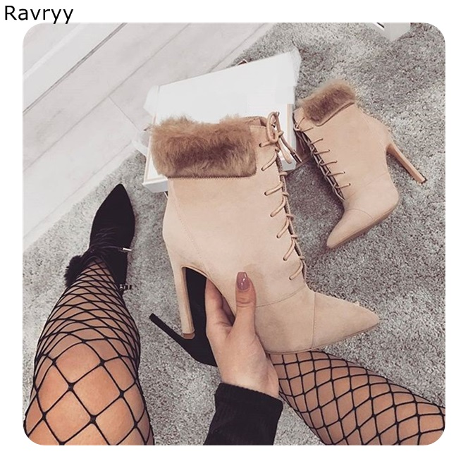 Lace Up Women short boots suede fur cross-tied woman ankle boot 2018 autumn winter fashion thin heel pointed toe female shoes