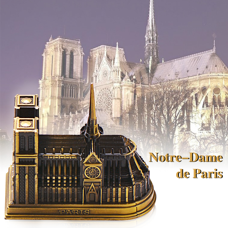 Notre-Dame de Paris Collectible figurines Miniatures Zinc Alloy Crafts French Church Ornaments Ornament Development Fashions Residence Reward Collectible figurines & Miniatures, Low-cost Collectible figurines & Miniatures, Notre Dame de...