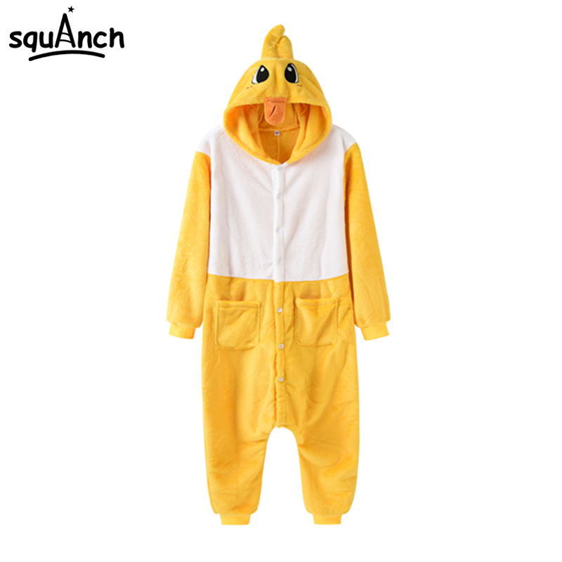 Yellow Duck Cosplay Costume Warm Soft Pajama Men Women Party Suit Adult Onepiece Cartoon Animal Cute Fancy Games Carnival Outfit