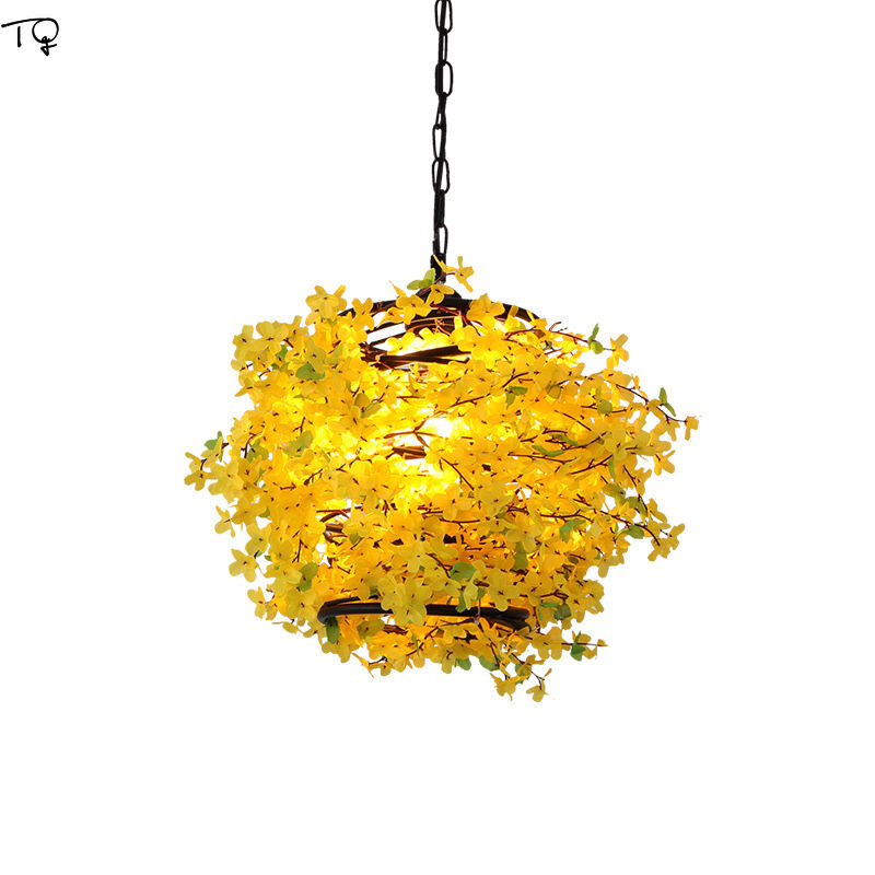 American Country Moedrn Led Pendant Light Fake Flowers Lamp Creative Music Bar Cafe Restaurant Living Room Kitchen Hanging Lamps