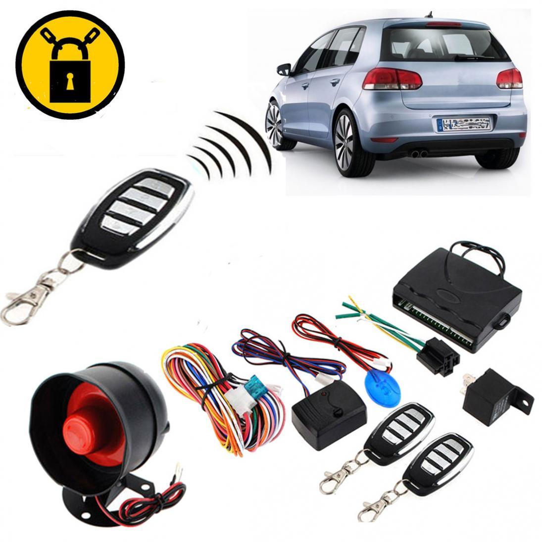 Système de sécurité d'alarme antivol de voiture 12 V système de Protection de véhicule à sens unique sirène de système d'entrée sans clé avec 2 télécommandes