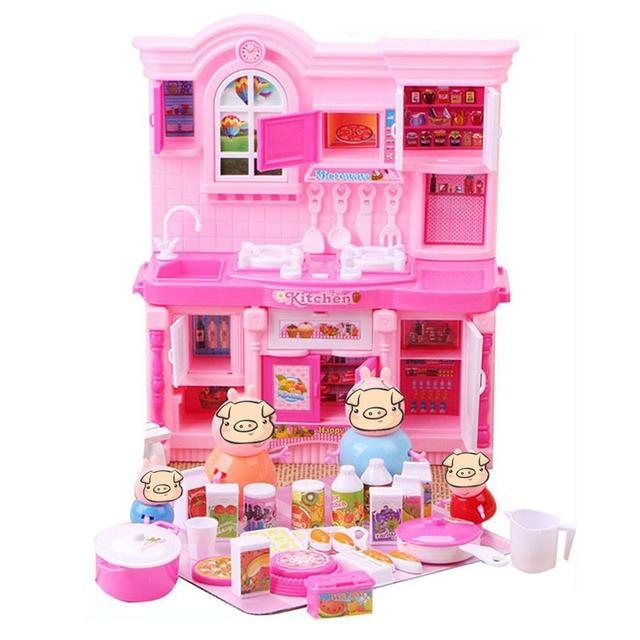 Игрушки розовая Свинья Свинья Семейный Дом Play Игрушки ПВХ Действие цифры Игрушки Обучающие Игрушки Prtend Лет Со Дня Рождения Рождественские Подарки Для Детей Мальчиков девушки