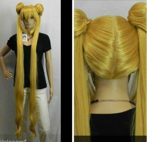 LY&CS Cheap sale dancing party cosplays>>>cosplay wig sailormoon Sailor Moon Wasser- Eis auf blonde Double Tiger Card free shipping sailor moon chibiusa sailor chibi moon lolita cosplay party wig