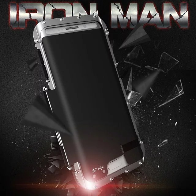 Original R-Just Ironman Series For Samsung Galaxy S7 edge G9350 Phone Flip cover case Climbing Aluminum Cover Metal Case