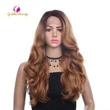 Beleza dourada 26 polegadas longa onda solta peruca parte lateral ombres cabelo sintético perucas da parte dianteira do laço para mulher