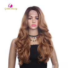 Golden Beauty 26 inches Long Loose Wave Wig Side Part Ombres Synthetic Hair Lace Front Wigs for Women