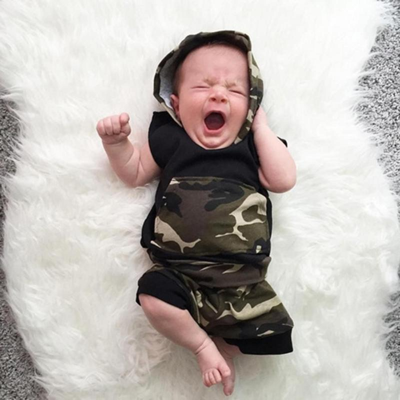 2Pcs Baby Boys Top Shorts Boys Clothes Newborn Toddler Children Camouflage Sleeveless Hooded Top Shorts Infant Outfits Clothing