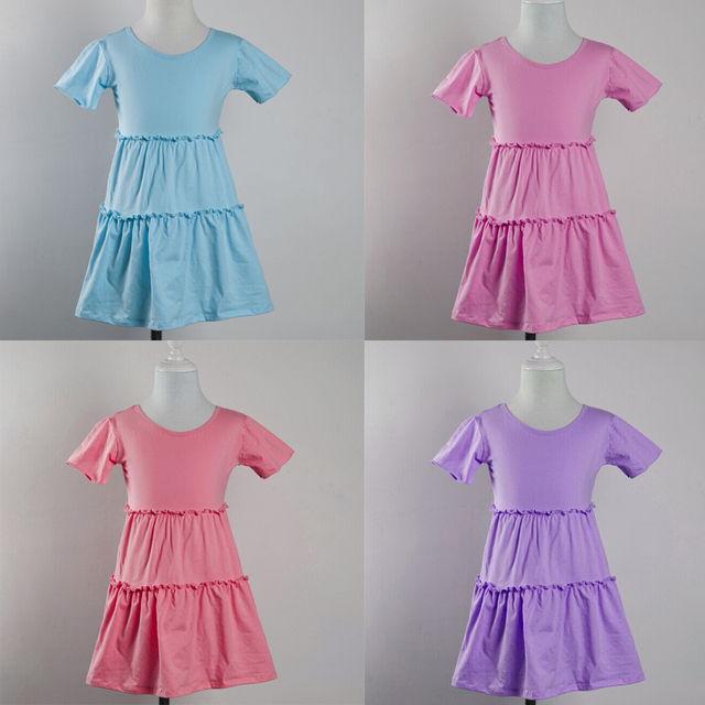 b1bbe4e45 الرخيصة الصين بالجملة الصلبة ثوب بنات حزب اللباس متعدد الألوان الطفل  الاطفال الصيف الشاطئ اللباس