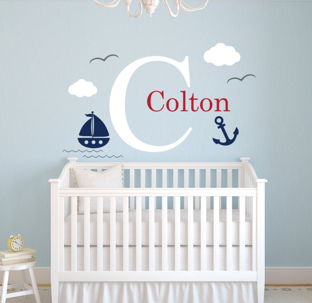 Nautical Anchor With Little Cute Ship Wall Sticker Custom Boys Name Nursery Kids Bedroom Art ...