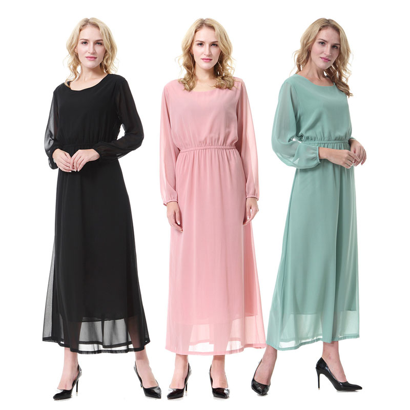 Nouveau musulman Abaya arabe vêtement ethnique grande taille Jubah Jilbab caftan Burqas Costumes américains musulmans femmes en mousseline de soie robe islamique