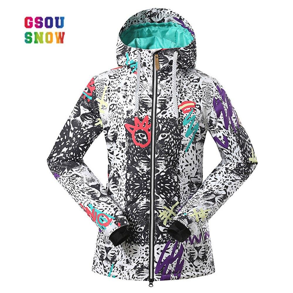 все цены на Gsou Snow Ski Jacket Women Outdoor Professional Snowboard Coats Windproof 10000 Thermla Colorful -30 Degree Female Ski Jackets онлайн