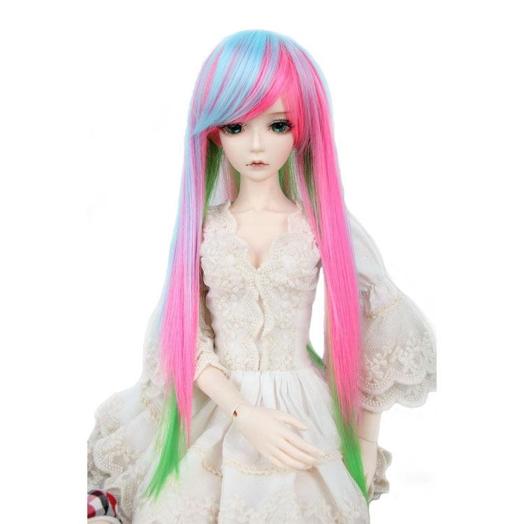 [wamami] 97# Long Straight Wig Fits On 1/3 SD AOD DOD DZ BJD Dollfie 8-9 inch fashion white straight fur wig 1 3 1 4 bjd wigs long wig for diy dollfie