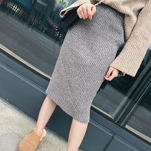 Skirts 2019 Spring Autumn Long Pencil Women Sexy Slim Knitting Skirt  Wool Solid A-Line Empire Fit