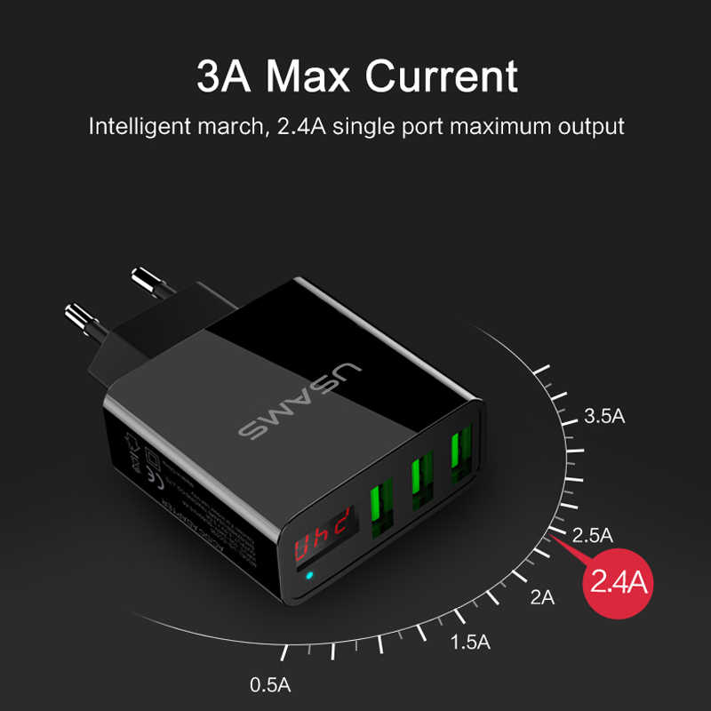 USAMS 3 USB Ponsel Charger Ponsel Charger LED Display Max 3A Uni Eropa Dinding Charger untuk Iphone Samsung Xiaomi Charger adaptor Usb