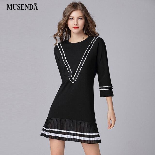 MUSENDA Plus Size Women Black Chiffon Patchwork Pleated Short Dress New 2018  Spring Female School Sweet Dresses Vestido Robe 5XL 3ae9786706b3