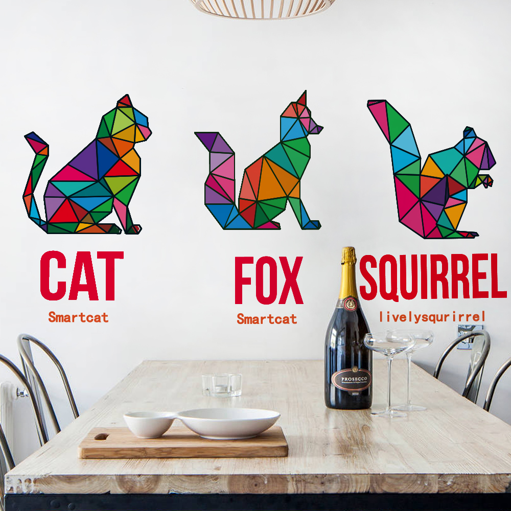 Animals cat fox squirrel geometry wall sticker for...