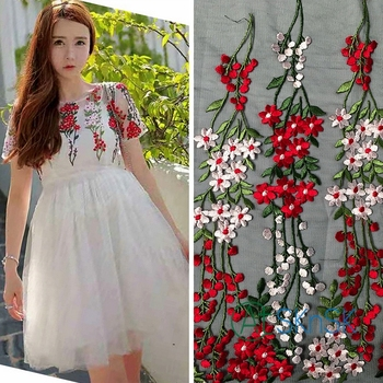 3yard/lot Cheap Fashion lace fabric for DIY dress width 130cm beautiful 3D flower embroidery mesh lace fabrics patchwork
