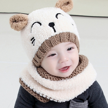 New Arrival White/Khaki Color Winter Kids Cap Scarf Set For Girls Boys Warm Baby Set Cap And Scarf Lovely Kid Neckerchief