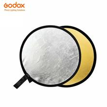 Godox 2 em 1 Refletor Dobrável Disco Redondo de Prata de Ouro incluem Saco 80 cm Iluminação Difusor