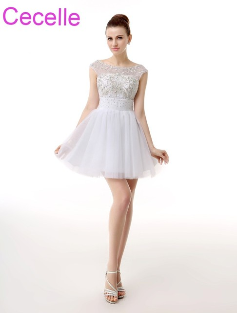 White Short Cocktail Dresses 2018 Sleeveless Beading Open Back A