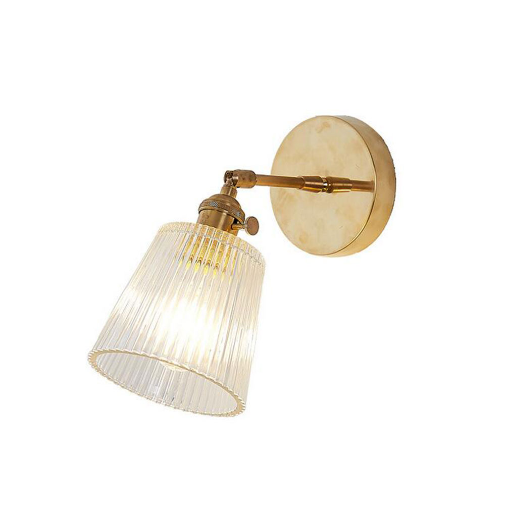 Glass Wall Lamp Modern Transparent Wall Sconce Lighting Nordic Wall Lamp Copper Wall Light Clear Lampshade Retro For Bedroom