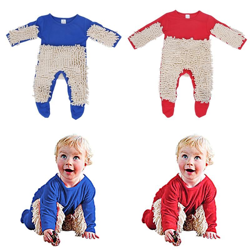 Newborn Stylish Jumpsuit Baby Boys Girls Mop Design Long Sleeve Swob Romper Toddler Kids Playsuit Outfit Clothes