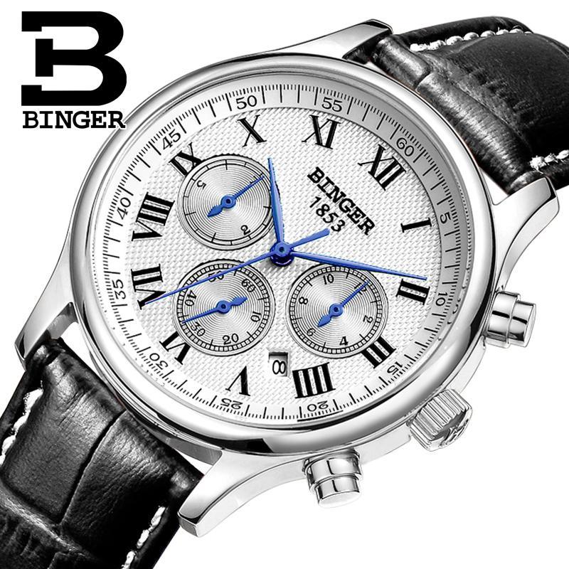 Switzerland men's watch luxury brand Wristwatches BINGER Mechanical Wristwatches leather strap Waterproof B6036 switzerland watches men luxury brand wristwatches binger mechanical wristwatches leather strap waterproof b6036 9
