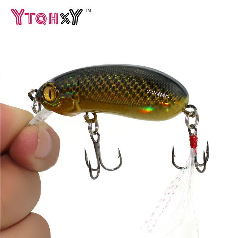 1Pcs 6cm 10g Topwater Fishing Lure iscas artificiais para pesca Swimbait Wobbler with feather Crankbait Fishing Tackle WQ196 1pcs 12cm 11 5g fishing lure bass bait minnow lures 6 hook iscas artificiais para pesca crankbait fishing tackle zb34
