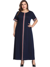 Plus Size Maxi Dress Women Elegant Summer France Striped Casual Office Robe Loose Wear To Work Vestidos 2019 Clothes