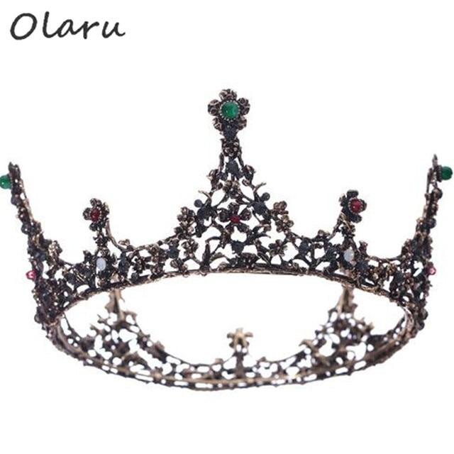 Olaru Luxury Vintage Crystal Flower Wedding Crown Alloy Bridal Tiara  Baroque Queen King Crown Rhinestone Tiara Crown Jewelry ed09ea577365