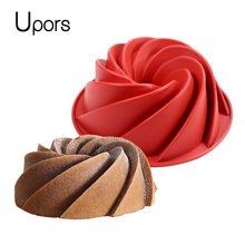 Upors Large Spiral Shape Food Grade Silicone Bundt Cake Mold Pan 3d Fluted Cake Mould Form Bread Bakery Baking Tools Bakeware(China)