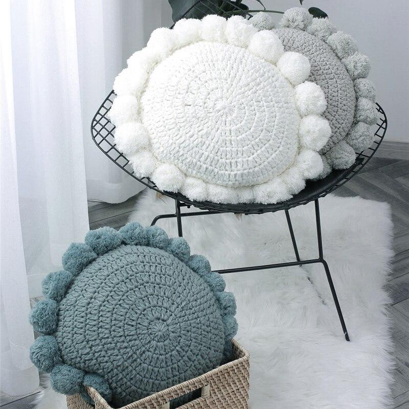 Knit Cushion Solid Blue Grey Vintage Green Pad 50x50cm Cute Pompom Ball Cushion Case Soft For Sofa Bed Nursery Room Decorative