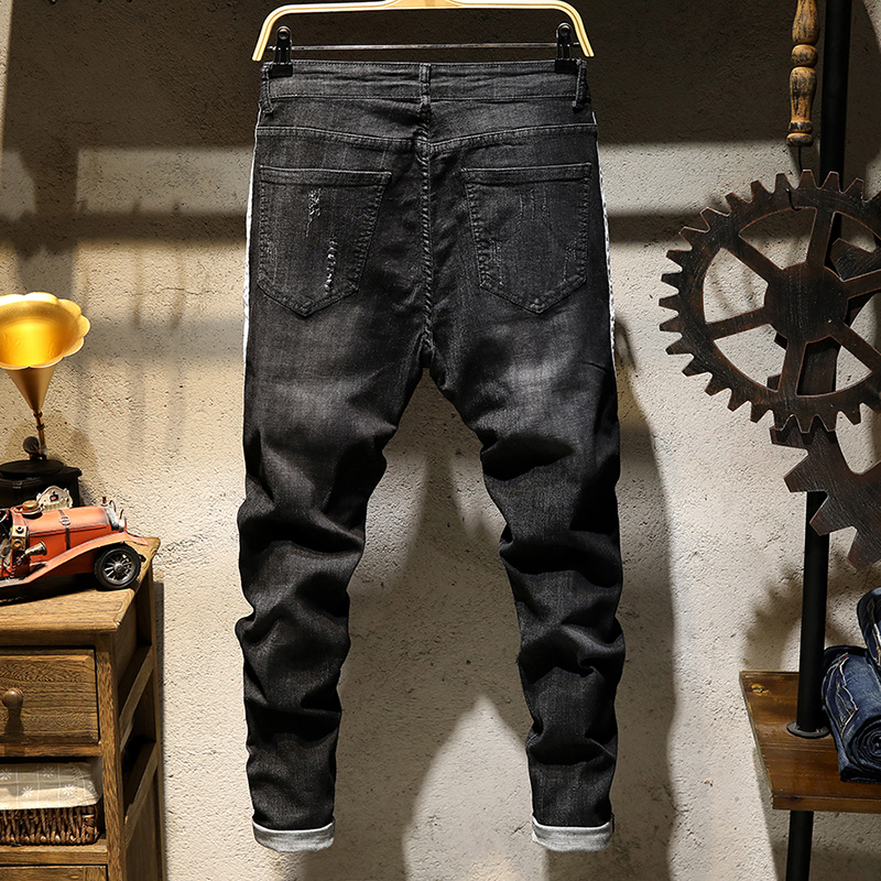 Mens Fashion Jeans Spring new stretch hole scratching jeans Little feet hip-hop jeans Slim jeans male Plus Size 28-38