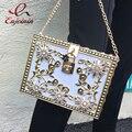 Luxury fashion exquisite diamond flower locks dinner party dinner clutch bag chain shoulder bag ladies evening bag handbag